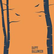 Happy halloween card. Birch trees and bats silhouettes. Simple holiday greeting Stock Illustration