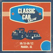 Classic car show poster. Old retro automobile banner. Promotional design with Stock Illustration