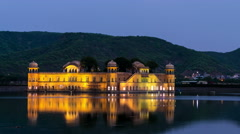 Jal Mahal palace at sunset in Jaipur. Time-lapse Stock Footage