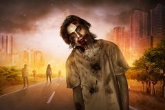 Horrible scary zombie walking around Stock Photos