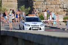 Bulgarian Police Car in Nessebar, Bulgaria Stock Photos