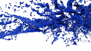 Big blue splashes in slow motion. Colored paint Stock Footage