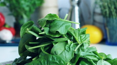 Fresh green spinach leaves Stock Footage