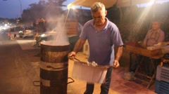 Roasting Chestnuts  in Sicily Stock Footage