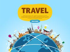 Travel the world. Monument concept. Road trip. Stock Illustration