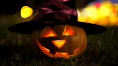 Jack o'lantern in witch hat, halloween symbol Stock Footage
