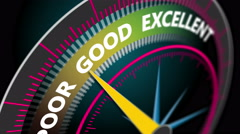 Compass needle pointing the word excellence, motion blur Stock Footage