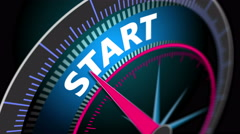 The speedometer shows the motion blur word Start, startup business Stock Footage