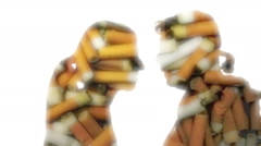 Cigarettes man woman kiss passion Stock Footage