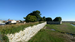 Defensive wall, Brouage, fortified town, Charente Maritime, France, EU, Europe Stock Footage