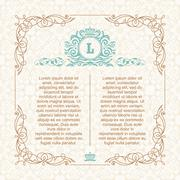 Calligraphic border frame. Design template for wedding greeting card, invitation Stock Illustration