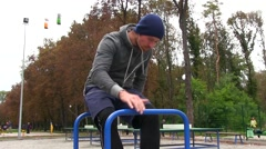 Strong Athletic Man After Workout Fitness Training On Sports Ground In Park Stock Footage