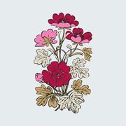 Floral bush retro on white background vector, hand drawn decorative flower Stock Illustration