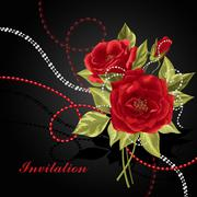 Beautiful bouquet of roses with beads Stock Illustration