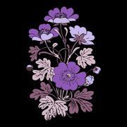 Floral bush retro black on black background vector, hand drawn decorative Stock Illustration