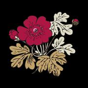 Floral bush retro on black background vector, hand drawn decorative flower Stock Illustration