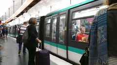 Paris, France. Passengers ready to board a Metro train. Stock Footage