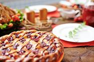 Close-up of appetizing berry pie on table Stock Photos