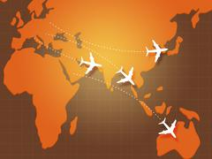 Flights to Asia on Map Stock Illustration