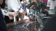 Dragon fountain in Japan hand and spirit wash before get in Japanese temple Stock Footage