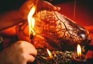 Magic ritual with bovine heart Stock Photos