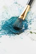 Scattered shade of aqua Colour with brush on white background Stock Photos