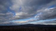 4k Clouds timelapse with view of Brocken peak mountain range Harz Stock Footage