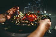 A witch holds a ritual of love Stock Photos