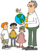 Teacher explaining the earth to students Stock Illustration