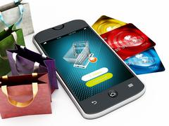 Smartphone, credit cards, shopping bags and basket Piirros