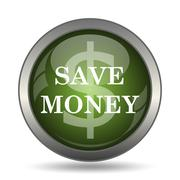Save money icon. Internet button on white background. . Stock Illustration