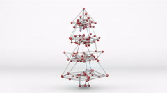 Wireframe mesh of christmas tree 3D render loopable animation 4k (4096x2304) Stock Footage