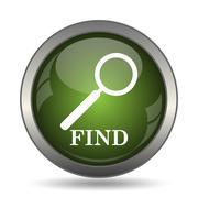 Find icon. Internet button on white background. . Stock Illustration