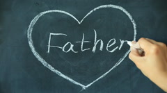 Chalk drawing - father in heart shape on chalkboard blackboard Stock Footage