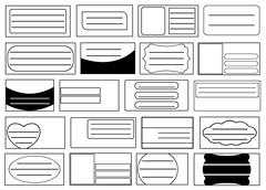 Set of different school notebook labels Stock Illustration