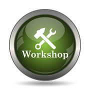 Workshop icon. Internet button on white background. . Stock Illustration