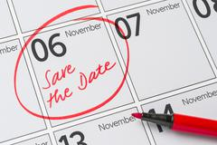Save the Date written on a calendar - November 6 Stock Photos