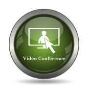 Video conference, online meeting icon. Internet button on white background. . Stock Illustration