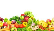 Vegetables and fruits over white background. Stock Photos