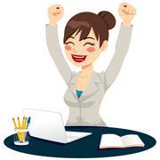 Happy Successful Woman Celebrating Stock Illustration