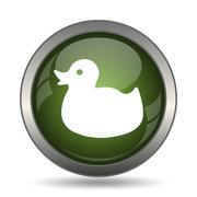 Duck icon. Internet button on white background. . Stock Illustration