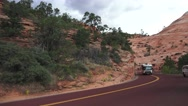 Zion National Park , class A motorhome on highway Stock Footage