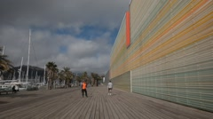 The facade of Batel Auditorium and Congress Centre in Cartagena, Spain Stock Footage