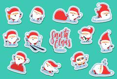 Santa Claus characters of Christmas. Quirky cartoon patch cute sticker flat. Stock Illustration