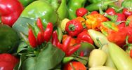 Red and green pepper for sale Stock Photos