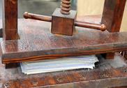 Ancient hand press for paper processing Stock Photos