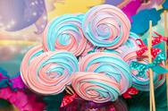 Colorful sweet merengue Stock Photos