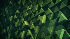 Surface of green extruded triangles 3D render loopable 4k UHD (3840x2160) Stock Footage