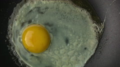 Fried Egg making in a clean Teflon Pan with butter Stock Footage