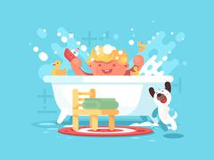 Child plays in bathroom Stock Illustration